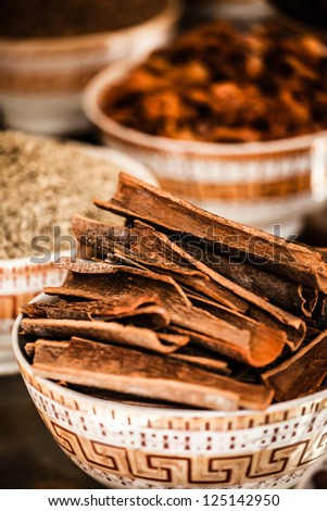Spices and herbs in bowls. Food and cuisine ingredients. Colorful natural additives. ( HDR image ) - stock photo