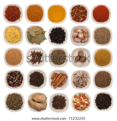 Spices and herbs isolated on white - stock photo