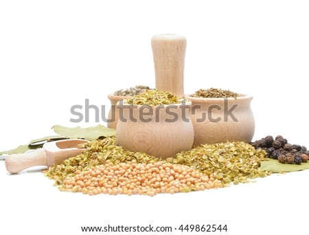 spices and herbs isolated on white background, oregano, basil, pepper, sage,bay leaf,mustard seeds - stock photo
