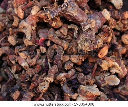 Spices and herbs on oriental market - stock photo