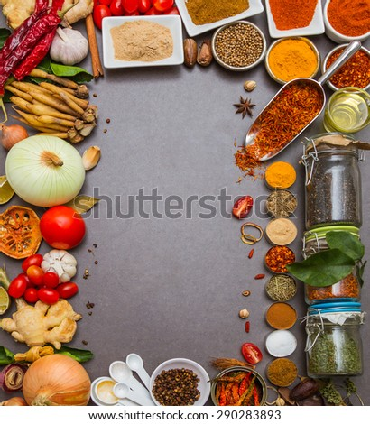 Spices and herbs on stone background, Top view indian mix spices and herbs difference ware on stone background with copy space for design spices, herbs or foods content.