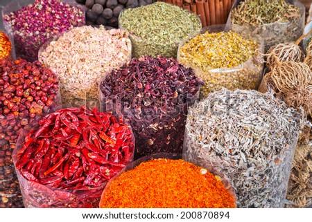 Spices and herbs on the Deira market of Dubai, UAE - stock photo