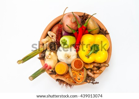 Spices and herbs on white background for herbs or spices, Top view mix indian spices and herbs difference ware on white background with copy space for design vegetable, spices, herbs or foods content.
