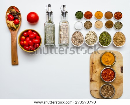 Spices and herbs on white background, Top view indian mix spices and herbs difference ware on white background with copy space for design spices, vegetables, herbs or foods content.