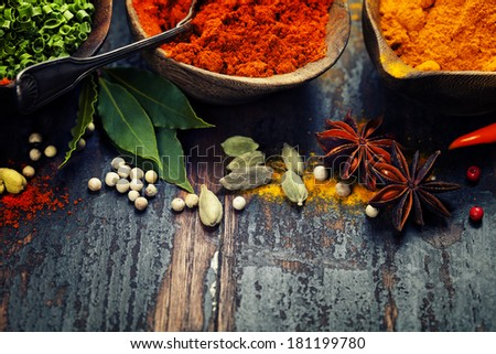 Spices and herbs over Wood. Food and cuisine ingredients. - stock photo