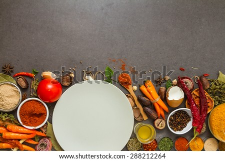 Spices and herbs selection background for decorate design project. - stock photo