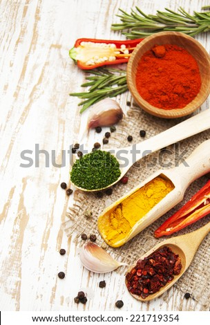 Spices and herbs variety. Aromatic ingredients and natural food additives. - stock photo