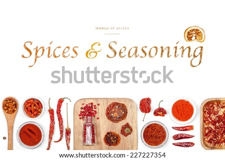 spices and seasoning on white background