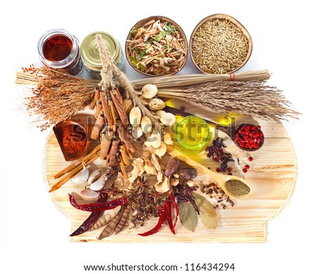 Spices assortment isolated on white background. - stock photo