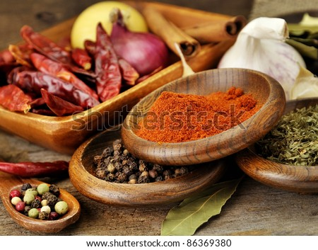 Spices Assortment On A Wooden  Board, Close Up - stock photo
