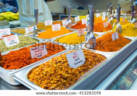 Spices at market - stock photo
