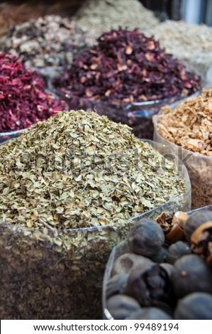 Spices at the spice souk (market) of Deira, Dubai, UAE - stock photo