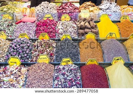 Spices bazaar - stock photo