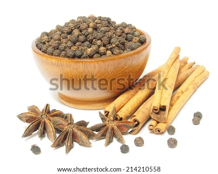 Spices Cloves, Cinnamon sticks and anise stars isolated on white background - stock photo