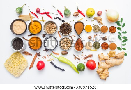Spices for heath and cooking on white background. - stock photo