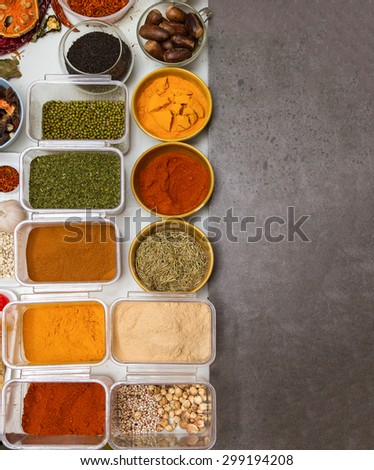 Spices for herb on background. - stock photo