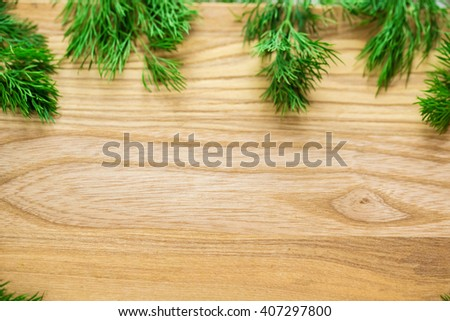 spices frame of fresh green dill on a wooden Board shot from aerial view - stock photo