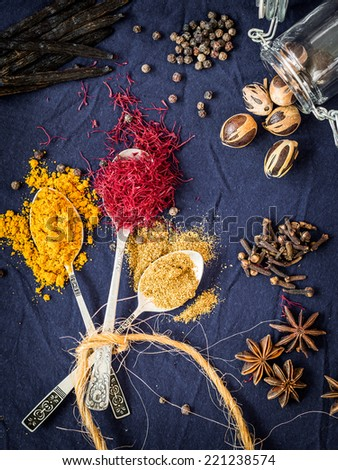 Spices from Zanzibar: turmeric, saffron, cumin, vanilla, pepper, nutmeg, cloves ans anise. - stock photo