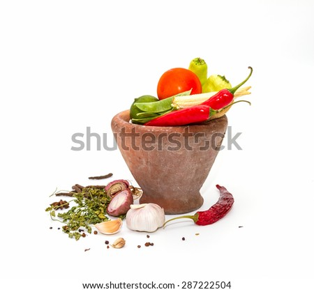 Spices,herbs,food and cuisine ingredients background for decorate design project. - stock photo