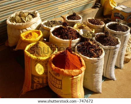 spices in a market place - stock photo