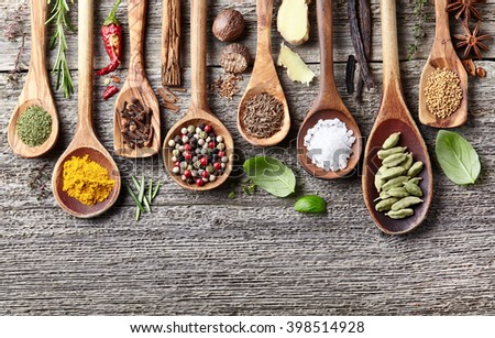 Spices in closeup on a wooden background - stock photo