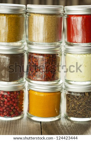 spices in glass jars