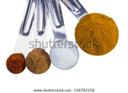 Spices in measuring spoons isolated on white background. - stock photo