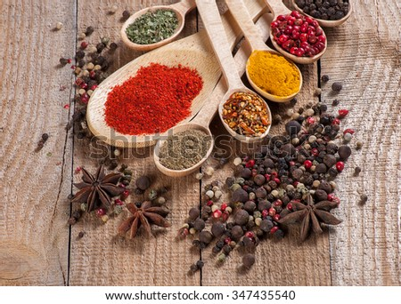 Spices in spoons, wooden background