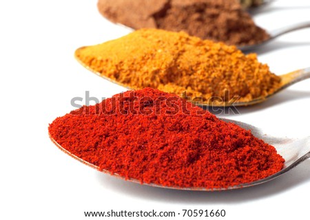 spices in the spoons on a white background