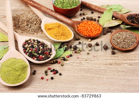 spices in the spoons on wooden background - stock photo
