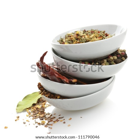 Spices In The White Bowls