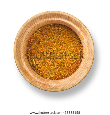 Spices in wood plate isolated on white background