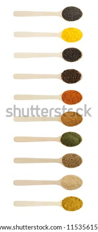 Spices in wooden spoons isolated on white - stock photo