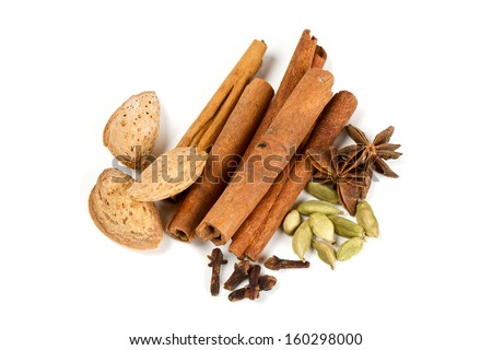 spices isolated on white background - stock photo