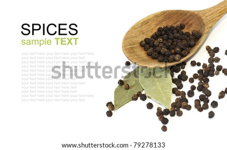 spices isolated on white background, black pepper, bay leaf - stock photo