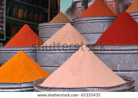 spices market in Marrakesh - stock photo