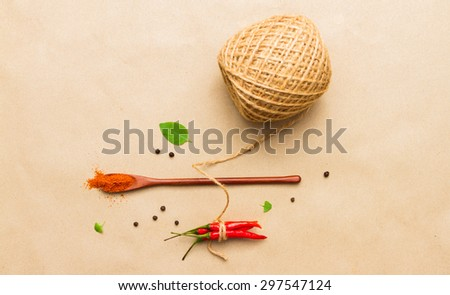 Spices mix selection brown paper background  - stock photo