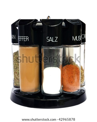 Spices - nutmeg oregano curry salt pepper marjoram chili