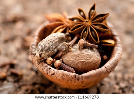 Spices: nutmeg, star anise, cloves and black cardamom - stock photo