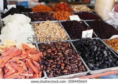 Spices, nuts and vegetables in open market Tel Aviv in Israel - stock photo