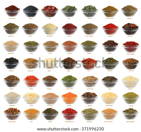 spices of a collage are isolated on a white background with names - stock photo