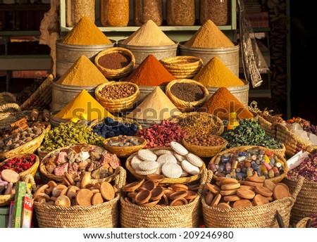 Spices on a moroccan  market,Marrakesh, Morocco. - stock photo