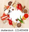 Spices on a wooden table - stock photo