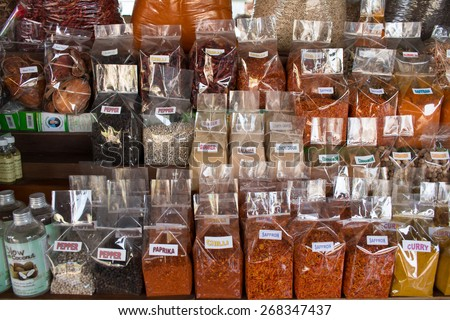 Spices on display at a Thai floating market