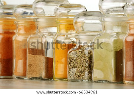 Spices on kitchen table