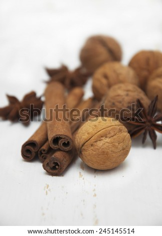 Spices set.Cinnamon stick,star anise and walnut on a wooden background