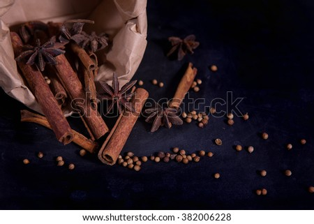spices set ,star anise,pepper and cinnamon on black background - stock photo