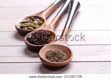 Spices set.Various seasonings for cooking, anise, cardamom, cloves - stock photo