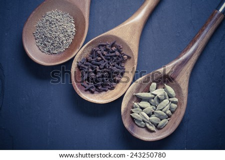 Spices set.Various seasonings for cooking, anise, cardamom, cloves in wooden spon - stock photo