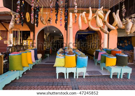Spices shop in the souk of Marrakech, Morocco - stock photo